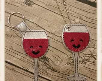 Wine Glass Key ring or Bag Tag