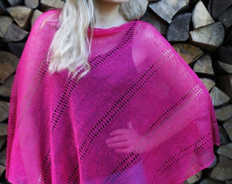 Pink Linen Poncho Cape Petunia Pink Wrap Poncho Linen Sweater Pancho Linen Cape Scarf Knit Shawl Modern Clothing Overlay Top For Women