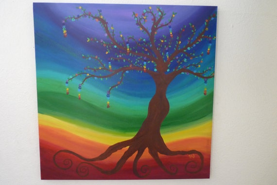 Chakra Tree Painting 24x24 original acrylic by SunStroked ...