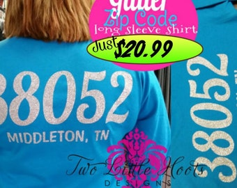 Long Sleeve Glitter Zip code Tee