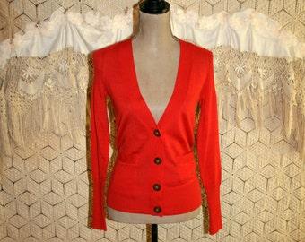 Womens Cardigan Sweater XXS XS Orange Cardigan Pockets Wool Blend Lightweight Light Cardigan Orange Sweater Ann Taylor Womens Clothing