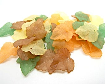 50 Mixed Leaves, Frosted Leaves, 4 Color Pack, Acrylic Leaves, Leaf Jewelry, Lucite Leaf Beads, Jewelry Supplies, 25mm Leaf Charm, UK Seller