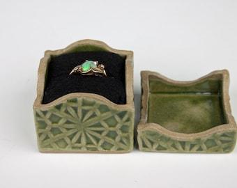Handmade small ceramic box,light olive green, ring box, stoneware box, slab built