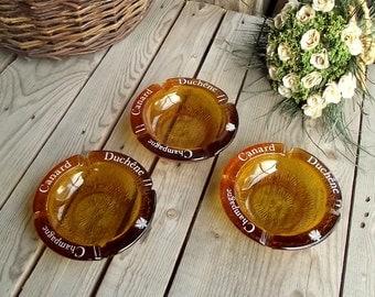 Vintage Ashtrays - Set of 3 - Amber Glass Ashtray - French Bistro Ashtray - Tip Plate - Pin Dish - Champagne Canard Duchene - Smoker Gift