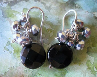 925 sterling Silver, black Onyx and silver Hematite earrings