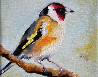 Original Bird Oil Painting, Colorful Impressionist European Goldfinch, Bird Art 6x6 Inch