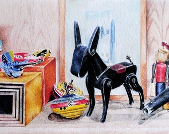 Original Colored Pencil Drawing, Realistic Pencil Drawing, Vintage Toys 8x20 Inch