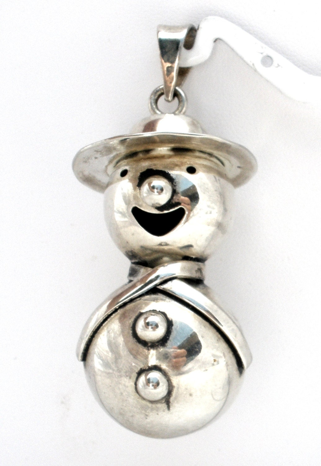 Snowman pendant sterling silver christmas jewelry necklace for Sterling silver christmas jewelry