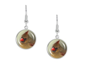 "Olive Green Northern Female Cardinal Bird Photo Dangle Earrings w/ 3/4"" Art Charms Silver Tone * FREE Shipping in USA *"