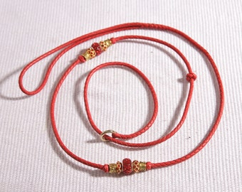 """Kangaroo Leather dog show slip lead of RED kangaroo leather 42"""" braided leather leash for your Best In Show dog"""