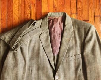 Vintage 50s Nationwide OPO Clothes Glen Plaid Two Piece Suit 40, 34x29