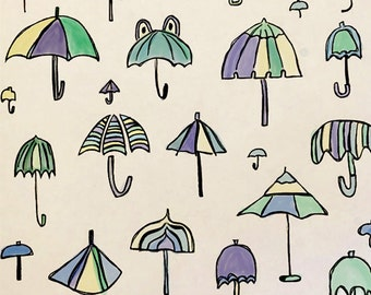Umbrella Print Digital Printable Pastel