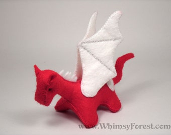 Miniature Red Felt Valentine Dragon Toy