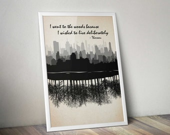 Thoreau I Went to the Woods Literary Quote Poster Vintage Art Illustration Large Wall Art Prints Typography Print Gift Quotes Walden Pond