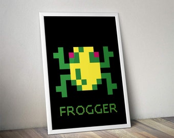 Frogger Classic Video Game Inspired - Movie Art Poster Print