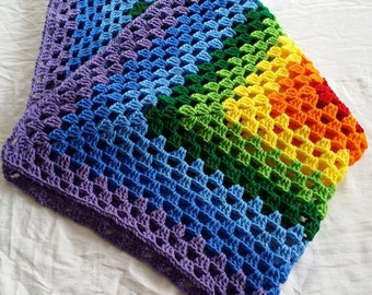 Crochet rainbow granny square blanket, crochet baby blanket, crochet blanket. baby shower