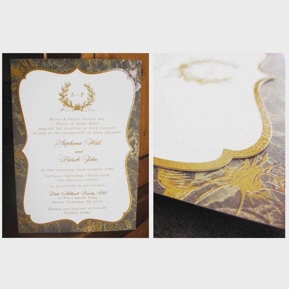 100 Gold & Brown Wedding Invitations Raised Ink Die Cut