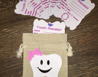 Tooth fairy recipt and bag for tooth keeping