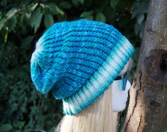Beanie , blue with white