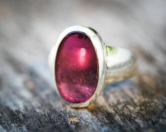 Pink Tourmaline Ring -  Rubellite Tourmaline - Tourmaline Ring Size 8.5 - Pink Tourmaline - Engagement Ring Alternative - Rubellite