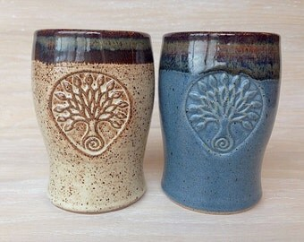 set of two pottery tumblers, pottery tumblers with tree design, pottery tree tumblers