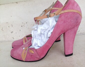 Pumps pink Suede, Martine Sitbon, sizes 37 French, Size 5, high heels