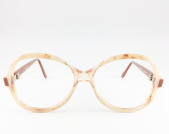 80s Vintage Eyeglass Frame   NOS Clear Brown and Cream Glasses   Oversize Round 1980s  Glasses - Dune XX