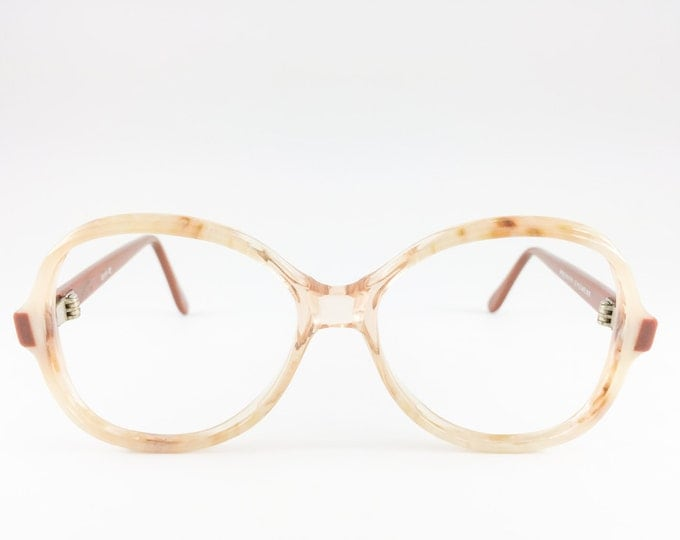 80s Vintage Eyeglass Frame | NOS Clear Brown and Cream Glasses | 1980s Oversize Rounded Glasses  - Dune