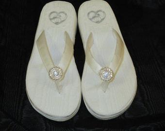 Size 5 to 5 1/2-Ivory Moire Taffeta Wedding Wedges