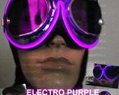 Light Up Goggle - Purple Burn DJ Electro Man Lit Up Goggle Dancer Rave Eye Wear for Gigs Parties Festivals Cyborg Cyber Dance Costume