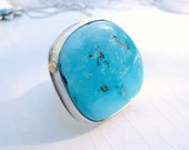 Chunky Turquoise Ring - Battle Mountain Blue Gem Turquoise / Sterling / 14k Gold / Size 8