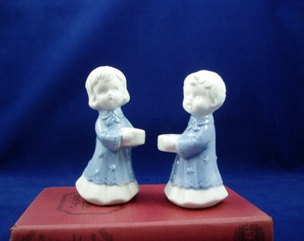Made in Taiwan Porcelain Blue and White Angel Candle Holders