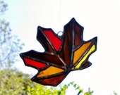 Fall Leaf Stained Glass Sun Catcher Autumn Stained Glass Ornament Thanksgiving Tiffany Glass Art, Ready to Ship Gift Idea