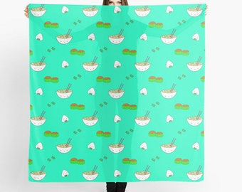 Cute Sushi Scarf Noodles Pattern Square Printed Scarves Kawaii Food Foodie Gift Large Head Wrap For Her Girlfriend Friend Silk Silky Fun