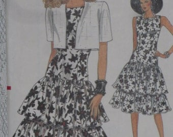 Vogue Pattern 9943 Misses' Tiered Ruffle Dress & Bolero Size 12, 14, 16, Easy