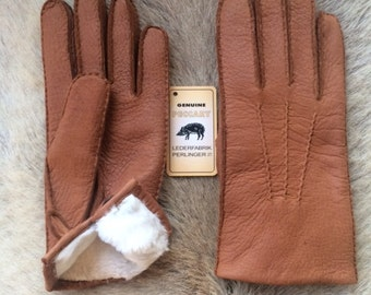 Men's Peccary Leather Gloves with Rabbit Fur Lining and button closure Winter Gloves