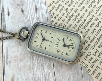 Double Face Pocket Watch Necklace Working Dual Timezone Antique Bronze Pocketwatch Necklace Timepiece Pendant
