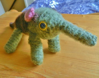 Amigurumi, crocheted, wool animals, ant eater, soft toy, plush