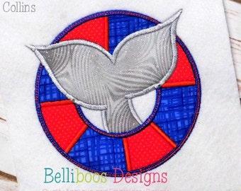 Whale Applique Design - What Embroidery Design - Raft Applique Design- Nautical Applique Design - Beach Applique Desing - Summer Applique