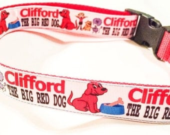 Clifford the big red dog inspired dog collar