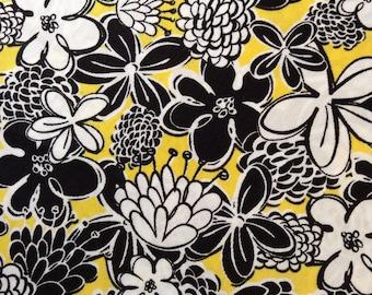 SALE - One Half Yard of Fabric - Black and White Floral