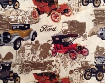 One Half Yard of Fabric Material - Ford Vintage