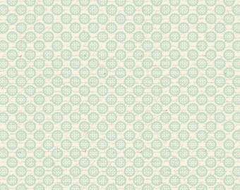 David Textiles - Paris Spring Expo - Circle Leaves - DT-9424-CW9 (Cream-Aqua) - Cotton Woven Fabric