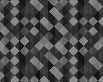 Wilmington Prints - Cherry Pop - Diamonds & Stripes Dk. Gray - Cotton Woven Fabric