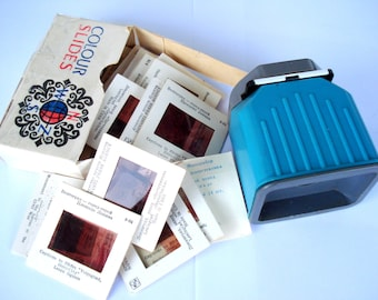 Soviet Vintage Diascope/ Set of 60 Slides 35mm Diapositives in 2 Boxes/ Plastic Photo Slide Accessory/ White and Blue/ 1970s