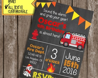 Fire Truck Invitation, Fire truck birthday party, Fire truck party invite, Fire fighter Invitations, Fire truck party,  #FT1