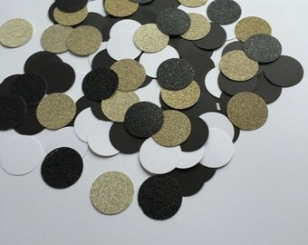 New Years Eve Confetti || Glitter Confetti || Black, Gold, White Confetti
