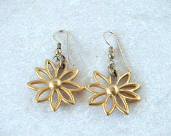 Brushed Gold Tone Flower Earrings - Free Shipping