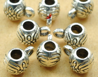 Antique Silver plated jewelry ,carve kettle Spacer Connector,metal Spacer beads in 6mm wide X 8.5mm length ,100 pcs