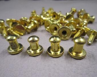 10x6mm - 10Sets Metal rivet stud spikes - Gold Finish Round Head Screw Back Stud